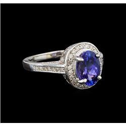 14KT White Gold 1.48 ctw Tanzanite and Diamond Ring