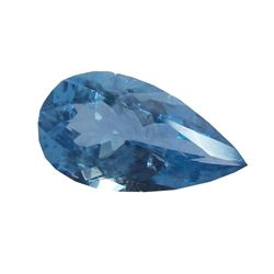 3 Ct 14.4x7.9 Mm Untreated Faceted Natural Blue Aquamarine Pear Cut Stone