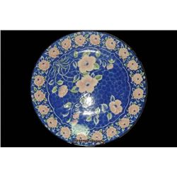 """Large Round Oriental Charger / Platter / Plate 12"""" Pink flowers on Blue"""
