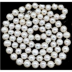 """8-9mm Natural White Akoya Cultured Pearl Necklace 22"""""""
