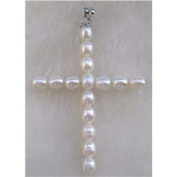 White Aaa Natural 14k Gold South Sea Pearl Cross Pendant Necklace
