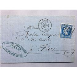 1866 French Original Postmarked Handwritten Envelope with Letter