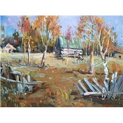 Signed Oil On Board Painting, Rural Cabin