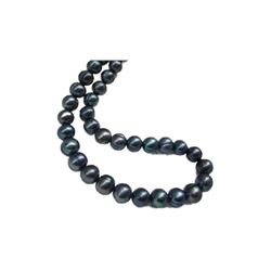"""18"""" Aaa 10-11 Mm South Sea Black Pearl Necklace 14k Gold Clasp"""