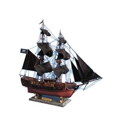 """Wooden Caribbean Pirate Ship Model Limited 26"""" - Black Sails"""