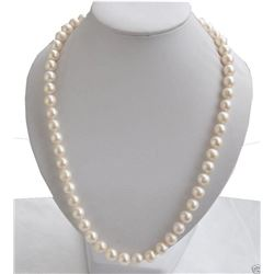 "8-9mm Genuine Natural White Akoya Freshwater Pearl Necklace 18""AAA"