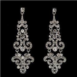 Rhodium Plated Clear Crystal Rhinestone Wedding Bridal Drop Dangle Earrings