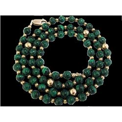 "Vintage 14k GF Genuine GREEN MALACHITE Gemstone Beaded Necklace 24"" long 6mm"