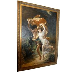 "Monumental (91"" x 61"") Oil Painting by a Follower of Pierre Auguste Cot."
