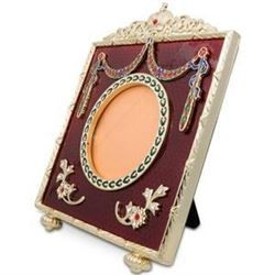 """5"""" Square Red Enameled Guilloche Russian Antique Style Picture Frame"""