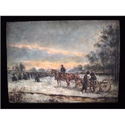 Russian Military Winter Scene Oil Painting