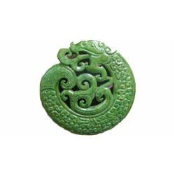 Chinese old handwork carve green jade dragon pendant statuary