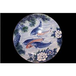"12.5"" Sun Ceramics KOI Fish Lotus Decorative Plate"