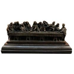Bronze Famous Religeous THE LAST SUPPER Sculpture Marble Base Figurine