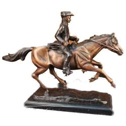 Signed PJ Mene French Soldier on Horse Bronze Marble Sculpture Statue Figure
