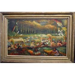Thomas La Farge; Oil Painting Signed