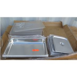 """Approx 5 2"""" Full Size Hotel Pans, Qty Approx 4 1/2 Size Hotel Pan Covers, Qty Aprrox 5 Plastic Hotel"""