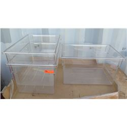 """Qty 3 Cambro 182615CW135 Clear Storage Boxes, 18"""" x 26"""" x 15"""""""