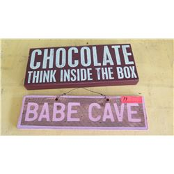 """Decorative Wall Signs 2pcs: """"Chocolate Think Inside the Box"""" & """"Babe Cave"""""""