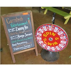 "Double Sided A-Frame Chalkboard Sign & ""Spin & Win"" Wheel"