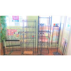 """Black Metal Display Shelving Units and Stands (Approx 10pcs) - Tallest 75"""" H, Shortest 43"""" H"""