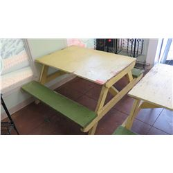 Yellow and Green Wood Picnic Table