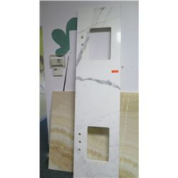 """Double-Sink White Marble Countertop Slab, Approx. 89.5"""" x 23"""""""