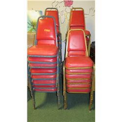 Vinyl Upholstered Stackable Chairs, Approx 18 Red/Blue & 16 Gold/Red
