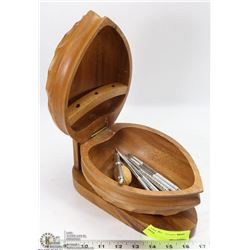 WOODEN WALNUT SHAPE NUT BOWL WITH CONTENTS