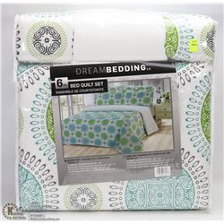 NEW 6 PC QUEEN SIZE QUILT AND SHEET SET