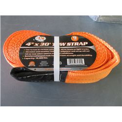 New Tow Strap 4 inch x 30 foot 9 Ton/ 18,000lb / will not rot or tear in