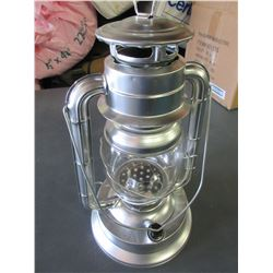 "New Metal 14"" Hurricane Lantern 21 LED Lights / uses very little energy/silver"