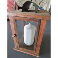 Wood Hurricane Lantern with large candle / great for patio or deck