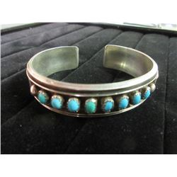 Sterling Silver Native American Navajo Turquois Bangle Bracelet / 26 GRAMS