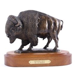 J.R. Meredith - Stand Off Buffalo Bronze Sculpture
