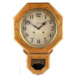 Ingraham Oak Drop Octagon Wall Clock c. 1881