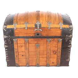 Early Humpback Steamer Trunk 19th Century