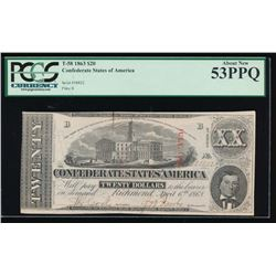 1863 $20 Confederate States of America Note PCGS 53PPQ