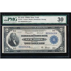 1918 $2 New York Federal Reserve Bank Note PMG 30