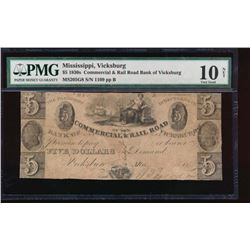 1830 $5 Commercial and Rail Road Bank of Vicksburg Note PMG 10NET
