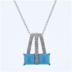 14KT White Gold 3.04ct Turquoise and Diamond Pendant with Chain