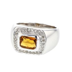 18KT White Gold 1.53ct Citrine and Diamond Ring