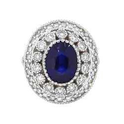 14KT White Gold 4.59ct Blue Sapphire and Diamond Ring