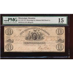 1837 $20 Mississippi and Alabama Obsolete Note PMG 15