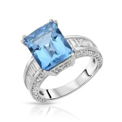 14KT White Gold 5.33ct Blue Topaz and Diamond Ring