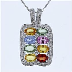 14KT White Gold 4.03ctw Multi Color Sapphire and Diamond Pendant with Chain