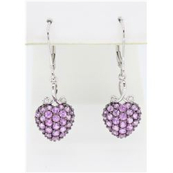 14KT White Gold 1.60ctw Pink Sapphire and Diamond Earrings