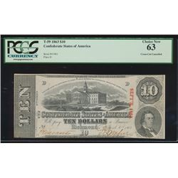 1863 $10 Confederate States of America Note PCGS 63