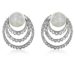 14KT White Gold 16.08ctw Pearl and Diamond Earrings