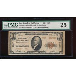 1929 $10 Los Angeles Nation Bank Note PMG 25